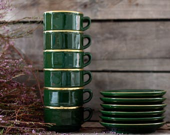 Set French antique 6 coffee cups in green porcelain APILCO. French coffee service. French coffee set. French tableware. French bistro cups