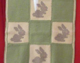 Handmade crochet cross stitch baby afghan throw blanket