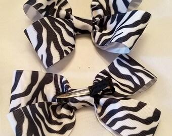 Handmade zebra print bow