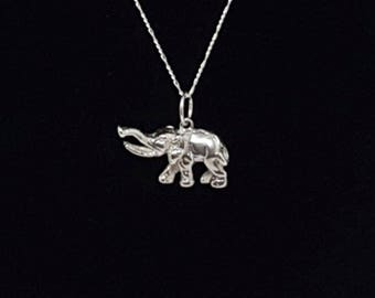 """3D Elephant Charm 925 Sterling Silver with Sterling Silver 18"""" chain - Made In USA-Authentic gift for him"""