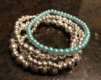 Aqua silver layering bracelet