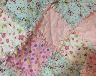 Rag Baby Quilt, Baby Girl or Toddler Quilt, Raggy Quilt