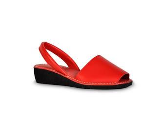 avarca wedge sandals - red - leather sandals, avarcas, espadrilles, leather avarcas, menorquinas, sandals, menorca sandals, espadrilles