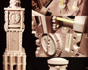STEAM CLOCK TOWER - Assembled & Unpainted