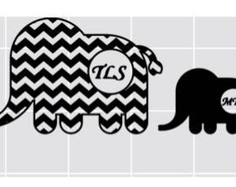 Mommy and baby elephant Decal