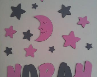 wall decor with stars and moon