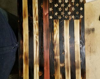 Rustic wooden flags