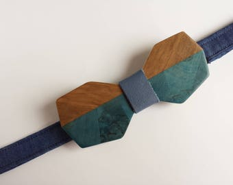 bow tie blue wood