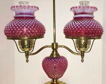 Fenton Hobnail Cranberry Opalescent Large Brass Lamp
