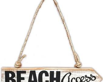 Rustic Handpainted Wooden Beach Sign