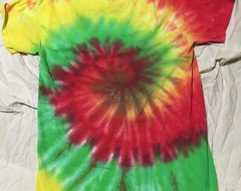 Bright rasta colored tie dye shirt