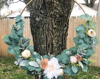 Hoop wreath | eucalyptus | embroidery | home decor | everyday wreath | party | birthday | wedding | neutral | wall decor | nursery | gift
