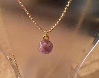 Purple wildflower necklace