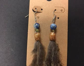 Hand beaded pheasant feather earrings