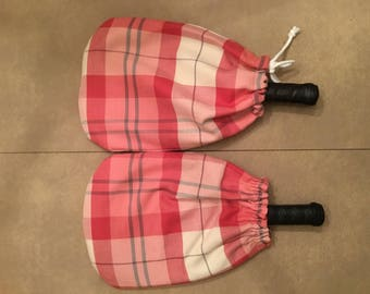 Pink Plaid Pickleball Paddle Cover