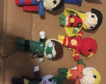 Miniature Superhero yarn dolls