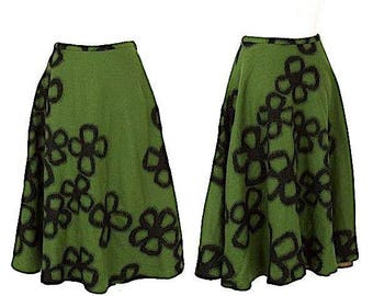 Sybilla. Europe. Green Wool Embellished Skirt