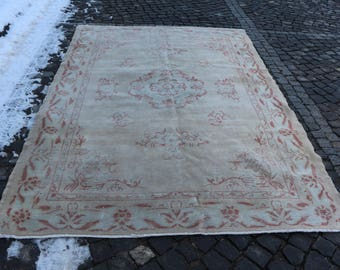 Unique Handknotted Turkish Rug 6.2 x 9.2 ft. Oushak Rug Thin Pile Rug Decorative Rug Rustic  Rug Tribal Rug Bohemian Rug Good Condition MB24