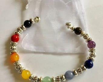 Bracelet 7 Chakras en pierres naturelles semi-précieuses