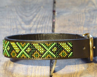 Baobab Green Masai Beaded Dog Collar (Size: S)