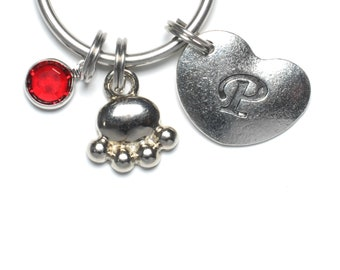 Paw Keyring, Swarovski Birthstone, Heart Initial Letter, Personalized, Cat Paw, Dog Paw, Keychain, Dog, Cat, Lover, Key Chain, Gift