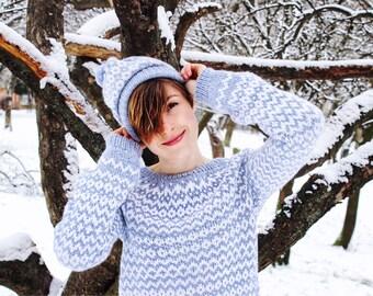 Beautiful warm sweater  - Ice Blue - 100% natural fiber