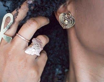 Hammered Brass Ankh Gold Ring