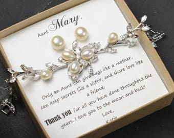 Aunt gift aunt and niece gift for aunt wedding gift for aunt aunt bracelet fresh water pearl earrings bracelet set for aunt aunty jewelry