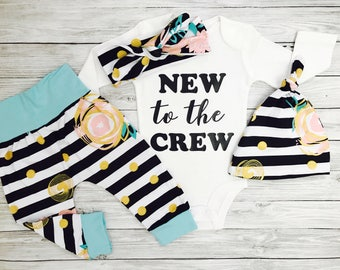 Baby Girl Coming Home Outfit, Newborn Girl Gift, New To The Crew Baby Girl Outfit, Baby Shower Gift, Baby Girl, Coming Home Outfit Girl