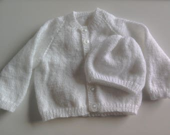 Hand knitted white baby Cardigan and Hat