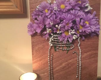 Mason Jar with artificial flowers