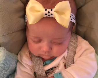 Handmade yellow satin headband