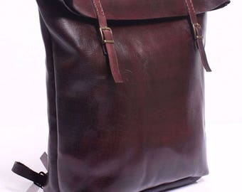 Burgundy Vegetable Tanned Leather Roll Top Backpack