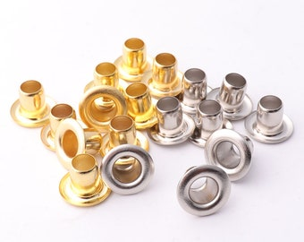 Gold Silver Eyelets Grommets with washers 12mm*5mm*8mm(OD * ID * Height) Metal eyelets grommet Brass Grommets Eyelet