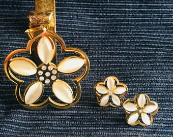 Nácar Flower Yellow Plated Stainless Steal Pendant and Earrings