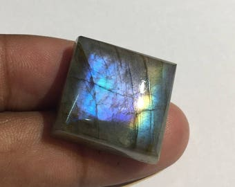 46.4 Cts 100% Natural Medagascar's Labradorite Cabochon Purple Multi Fire Polished Cab Healing Quartz Square Shape 22x21x8 mm N#1082-8