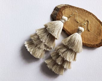 4-Tiered Tan Tassel Earrings