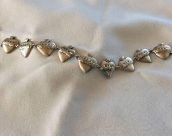 """Sterling Silver """"Burning Heart"""" Link Bracelet"""