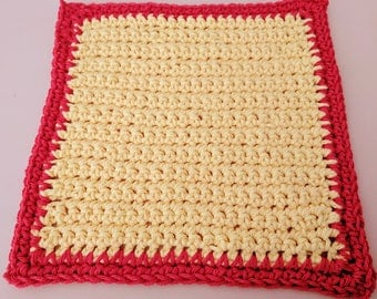 Yellow 100% Cotton Washcloth or Dishcloth with Red Border