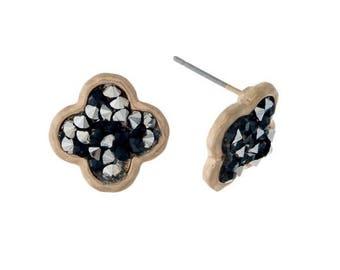 Quarterfoil Stone Stud Earrings