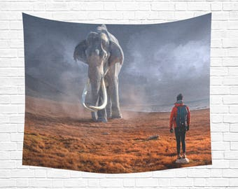 "Elephant Face Off Wall Tapestry 60""x 51"""