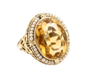 Antique Estate Gold Citrine and Seed Pearl Ring set in filigreed White 14k and Yellow 14K Gold