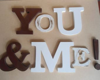 You & Me, decorative letters, wall letters, letters in MDF