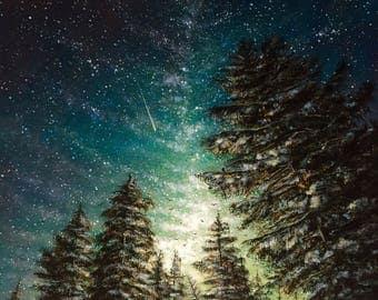 Infinite Wilderness: Original Acrylic Painting PRINT on 14 x 14 Gallery Canvas
