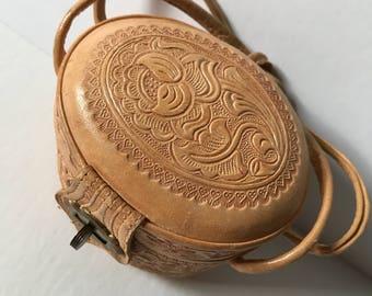 Tiny Vintage 1950's Tooled Leather Wristlet Purse