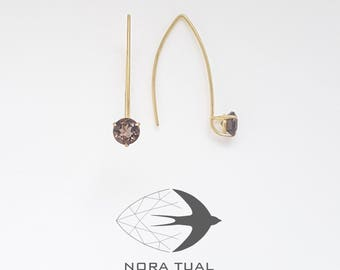 Earrings gold 750 and smoky Quartz