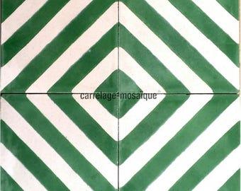 Chevron green cement tiles
