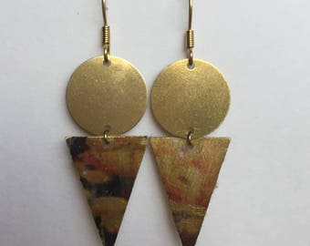 Long Geometric Earrings with Floral Imprint