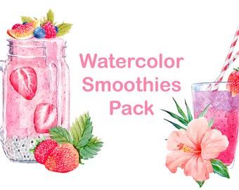 Watercolor Art Smoothie Illustration Pack Summer Drink Vegan Raw Healthy Fruit Juicy Diet Food