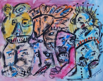 raw art, primitive, acrylic on paper 65 x 50 cm outsider art, primitive folk art
